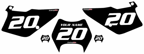 1997-2005 Kawasaki KDX220 Black Pre-Printed Backgrounds - White Numbers by FactoryRide