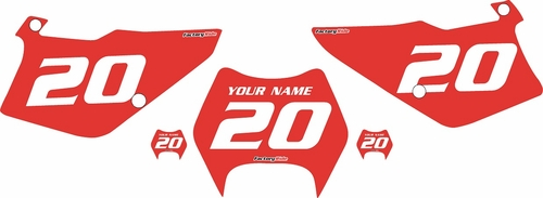 1997-2005 Kawasaki KDX 220 Custom Pre-Printed Red Background - White Numbers by Factory Ride