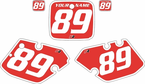 1989-1990 Yamaha YZ125 Custom Pre-Printed Red Background - White Bold Pinstripe by Factory Ride