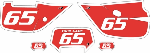 1992-1999 Honda XR650 Pre-Printed Backgrounds Red - White Bold Pinstripe by FactoryRide