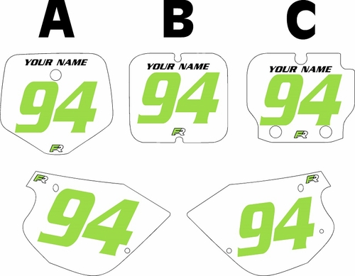 1991-1997 Kawasaki KX80 Pre-Printed Backgrounds White - Green Numbers by FactoryRide