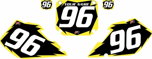 1996-1998 Suzuki RM125 Pre-Printed Backgrounds Black - Yellow Shock Series by FactoryRide