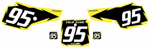 1995-1999 Suzuki RM80 Pre-Printed Backgrounds Black - Yellow Shock Series by FactoryRide