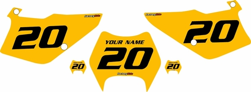 1997-2005 Kawasaki KDX220 Custom Pre-Printed Yellow Background - Black Numbers by Factory Ride