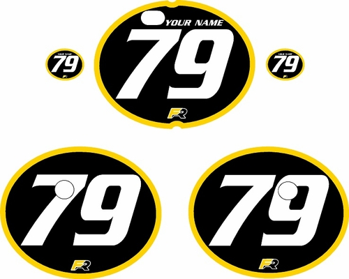 1979-1980 Suzuki RM400 Black Pre-Printed Backgrounds - Yellow Bold Pinstripe by FactoryRide
