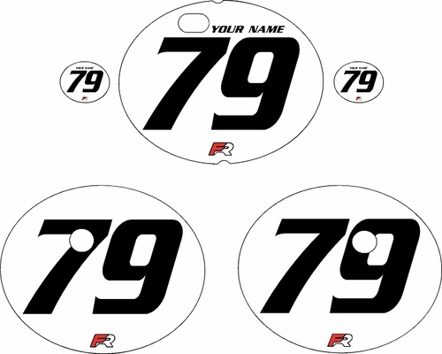 1979-1980 Suzuki RM125 White Pre-Printed Backgrounds - Black Numbers by FactoryRide