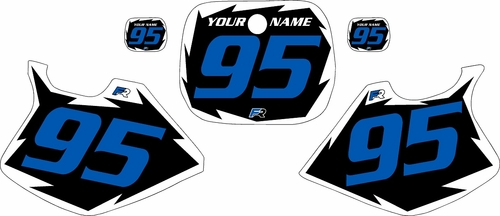 1993-1995 Yamaha YZ125 Pre-Printed Black Background - White Shock Series - Blue Number by Factory Ride