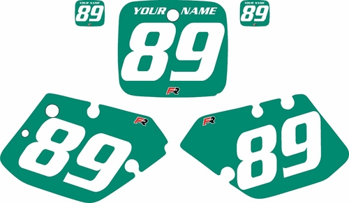 1989-1990 Yamaha YZ125 Custom Pre-Printed Green Background - White Numbers by Factory Ride