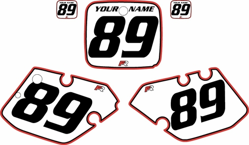 1989-1990 Yamaha YZ125 Custom Pre-Printed Background White - Red Pro Pinstripe by Factory Ride