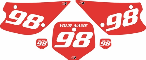 1998-2000 Kawasaki KX80 Custom Pre-Printed Red Background - White Numbers by Factory Ride