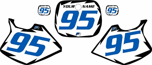 1993-1995 Yamaha YZ125 Pre-Printed White Background - Black Shock Series - Blue Number by Factory Ride