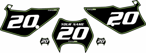 1997-2005 Kawasaki KDX220 Pre-Printed Backgrounds Black - Green Pinstripe by FactoryRide
