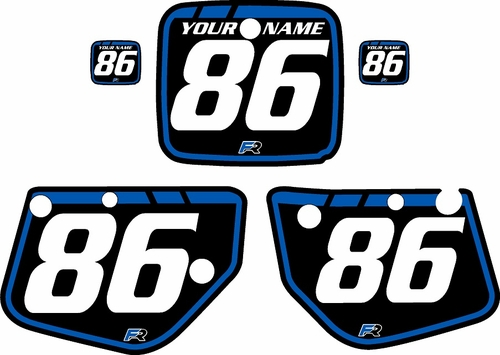 1986-1987 Yamaha YZ250 Custom Pre-Printed Background Black - Blue Retro by Factory Ride