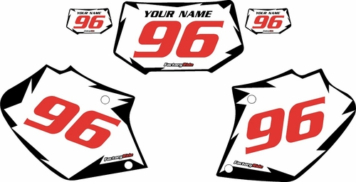 1996-2004 Honda XR250 Pre-Printed Backgrounds White - Black Shock - Red Numbers by FactoryRide