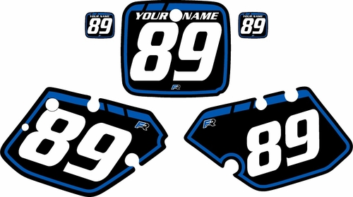 1989-1990 Yamaha YZ250 Custom Pre-Printed Background Black - Blue Retro by Factory Ride