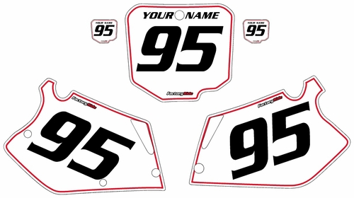 1995-1997 Honda CR125 Pre-Printed Backgrounds White - Red Pinstripe by FactoryRide