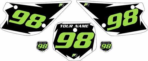 1998-2000 Kawasaki KX80 Pre-Printed Black Background - White Shock Series - Green Number by Factory Ride