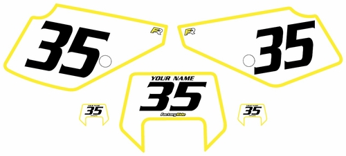 1990-2001 Suzuki DR350 Pre-Printed Backgrounds White - Yellow Bold Pinstripe by FactoryRide