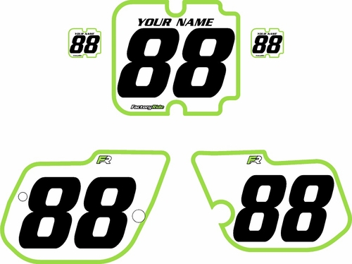 1986 Kawasaki KX125 Custom Pre-Printed Background White - Green Bold Pinstripe by Factory Ride