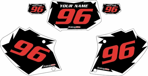 1996-2004 Honda XR250 Pre-Printed Backgrounds Black - White Shock - Red Numbers by FactoryRide