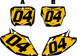 2002-2004 Honda CRF450 R Pre-Printed Backgrounds Yellow - Black Shock Series by FactoryRide