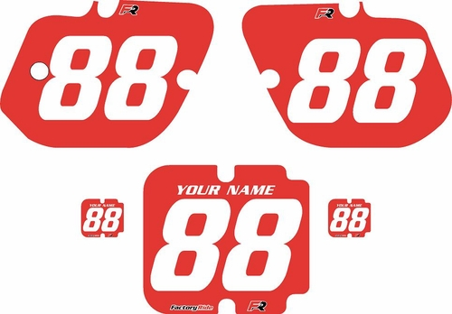 1987 Kawasaki KX250 Custom Pre-Printed Background Red - White Numbers by Factory Ride