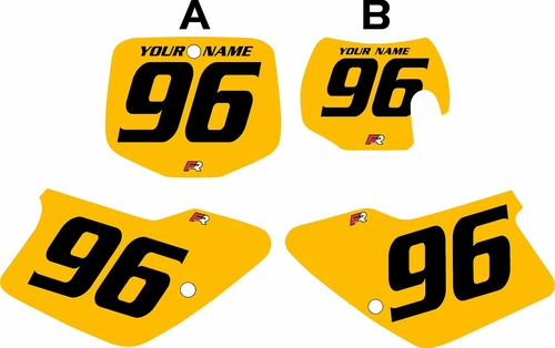 1998-1999 GAS GAS MC250 Custom Pre-Printed Background Yellow - Black Numbers by Factory Ride