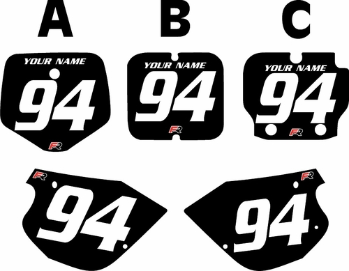 1991-1997 Kawasaki KX 80 Black Pre-Printed Backgrounds - White Numbers by FactoryRide