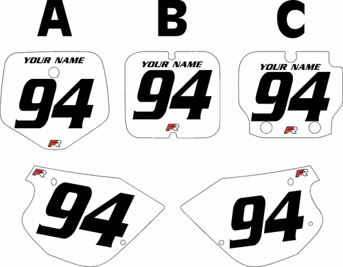 1991-1997 Kawasaki KX 80 White Pre-Printed Backgrounds - Black Numbers by FactoryRide