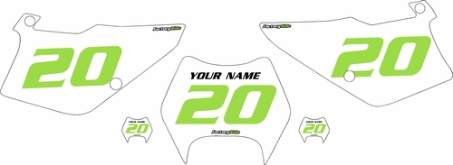 1995-2006 Kawasaki KDX200 Pre-Printed Backgrounds White - Green Numbers by FactoryRide
