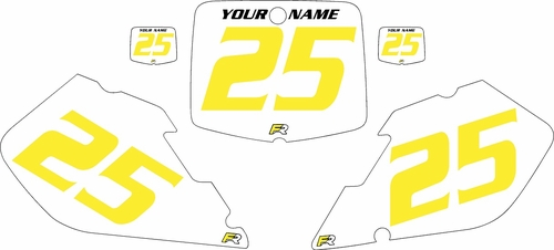 1999-2000 Suzuki RM250 Pre-Printed Backgrounds White - Yellow Numbers by FactoryRide