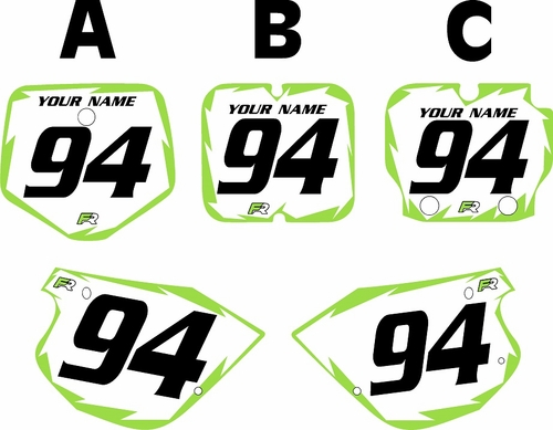 1991-1997 Kawasaki KX80 Pre-Printed Backgrounds White - Green Shock Series by FactoryRide