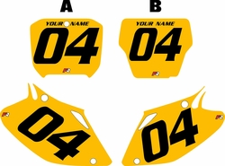 2002-2004 Honda CRF450 R Pre-Printed Backgrounds Yellow - Black Numbers by FactoryRide