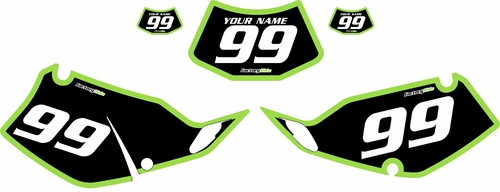 1994-1996 Kawasaki KLX250 Black Pre-Printed Backgrounds - Green Bold Pinstripe by FactoryRide