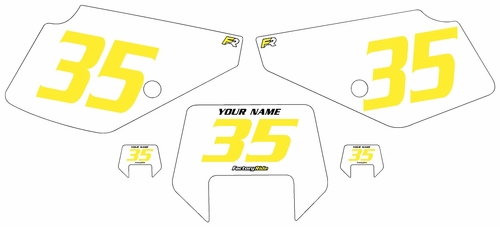 1990-2001 Suzuki DR350 Pre-Printed Backgrounds White - Yellow Numbers by FactoryRide