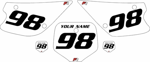1998-2000 Kawasaki KX80 White Pre-Printed Background - Black Numbers by FactoryRide