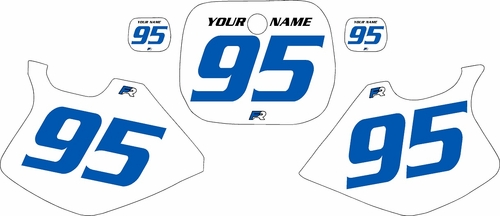 1993-1995 Yamaha YZ125 Custom Pre-Printed White Background - Blue Numbers by Factory Ride