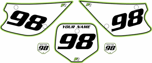 1998-2000 Kawasaki KX80 Custom Pre-Printed Background White - Green Pro Pinstripe by Factory Ride