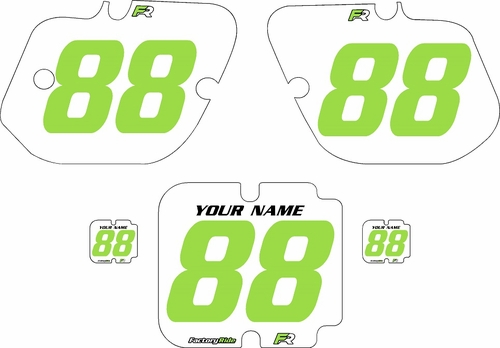1987 Kawasaki KX500 Custom Pre-Printed Background White - Green Numbers by Factory Ride