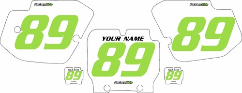 1989-1995 Kawasaki KX500 Pre-Printed Backgrounds White - Green Numbers by FactoryRide
