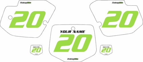 1996-2004 Kawasaki KX500 Pre-Printed Backgrounds White - Green Numbers by FactoryRide