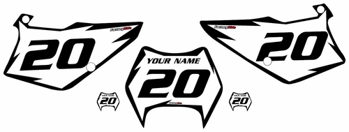 1995-2006 Kawasaki KDX200 White Pre-Printed Backgrounds - Black Shock Series by FactoryRide