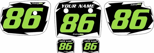 1986-2004 Kawasaki KX60 Pre-Printed Black Background - White Shock Series - Green Number by Factory Ride