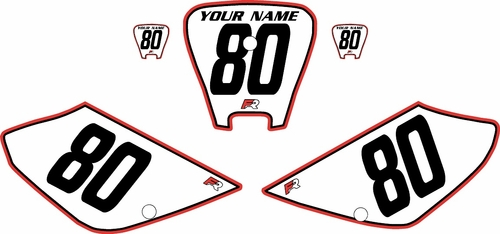 2001-2003 Honda XR100 Pre-Printed Backgrounds White - Red Pro Pinstripe by FactoryRide