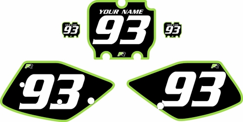 1992-1993 Kawasaki KX250 Pre-Printed Backgrounds Black - Green Bold Pinstripe by FactoryRide