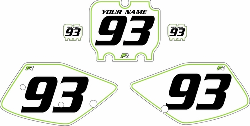 1992-1993 Kawasaki KX250 Pre-Printed Backgrounds White - Green Pinstripe by FactoryRide