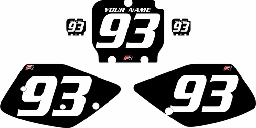 1992-1993 Kawasaki KX250 Black Pre-Printed Backgrounds - White Numbers by Factory Ride