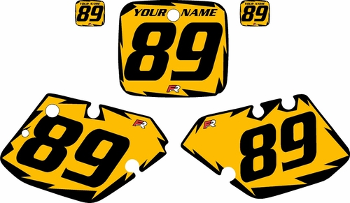 1989-1990 Yamaha YZ125 Custom Pre-Printed Yellow Background - Black Shock Series by Factory Ride