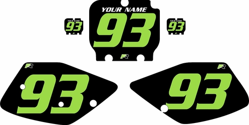 1992-1993 Kawasaki KX250 Pre-Printed Backgrounds Black - Green Numbers by FactoryRide
