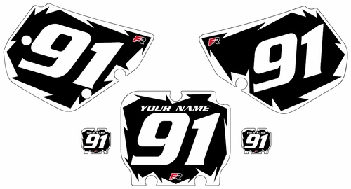 1990-1991 Kawasaki KX250 Black Pre-Printed Backgrounds - White Shock Series by Factory Ride